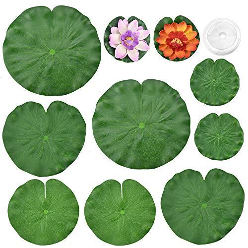PERFETSELL Seerosenblätter Künstliches Wasser 8 Stück Lotusblätter, 2 Stück 10cm Seerosen Wasserlilie Schwimmend Seerose Pflanzen Eva-Schaum Blumen Lotusblüte mit Angelschnur für Aquarium Garten Pool