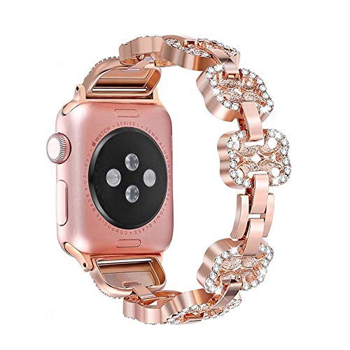 JIADUOBAO Correas para reloj Apple Watch Diamond Pulsera de metal para mujer (38 mm, 40 mm, 42 mm, 44 mm) Iwatch Series 5/4/3/2/1 (color: dorado, tamaño: 44 mm)