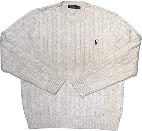 Polo Ralph Lauren Men's Pony Cable Knit Crewneck Sweaters (Grey Heather (Navy Pony), X-Large)