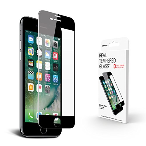 GPEL Screen Protector for iPhone 8 Plus / 7 Plus, High Definition Edge to Edge, Real Tempered Glass, Scratch Proof, Shock Absorbent, Bubble Free Easy Installation (Black)
