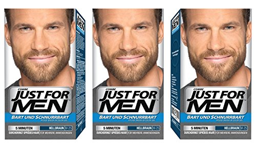 Just For Men Brush in Color Gelformel Bart Und Schnurrbart, hellbraun, 3er Pack, 1er Pack (1 x 28 g)