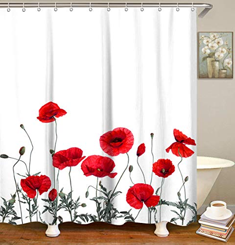"""LIVILAN Poppy Floral Shower Curtain Red Flowers Fabric Bathroom Curtain Home Decoration Set with Hooks Decorative Machine Washable (72""""X72"""")"""