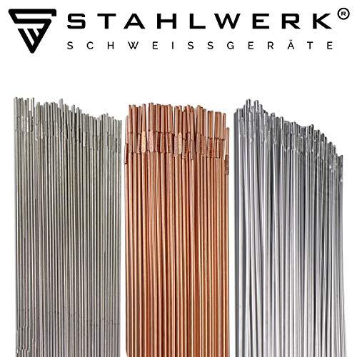 STAHLWERK Schweißstäbe Set ER70S-G3 Stahl & ER307Si Edelstahl hochlegiert & ER4043Si5 Aluminium/Ø 2,5/2,4 x 500 mm/je 0,8/1kg WIG Schweißzusatz