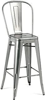 Design Lab MN LS-9100-GUNHB Amalfi Steel High Back Barstool - Clear Gunmetal44; Set Of 4