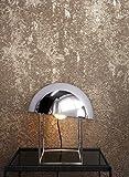 NEWROOM Tapete Braun Vliestapete Leicht Glänzend - Betontapete Uni Gold Silber Beton Putz Modern Industrial Betonoptik Putzoptik inkl. Tapezier-Ratgeber