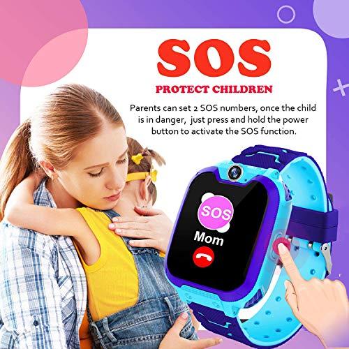 Kinderuhr Spiel MP3-Musikplyer Smartwatch - Musik Spielen Smart Handleband Telefon mit Kamera Fackel Rechner Kurzzeitmesser Wecker für 3-14 Kinder Geschenk, Blau