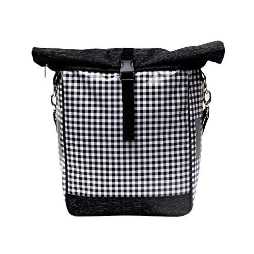 IKURI Einseitige Fahrradtasche für Gepäckträger Satteltasche Einzeltasche Packtasche, abnehmbar, mit Tragegurt zum Umhängen, aus Wachstuch, Unisex, wasserdicht, Modell Vichy