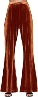Vero Viva Women's Velvet Solid Casual Flared Pants Simple Slim Wide Leg Trousers