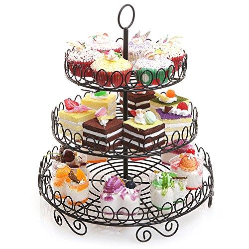 Round Black Metal Wire 3 Tier Cupcake Stand Tower/Appetizer & Dessert Serving Platter Display Rack