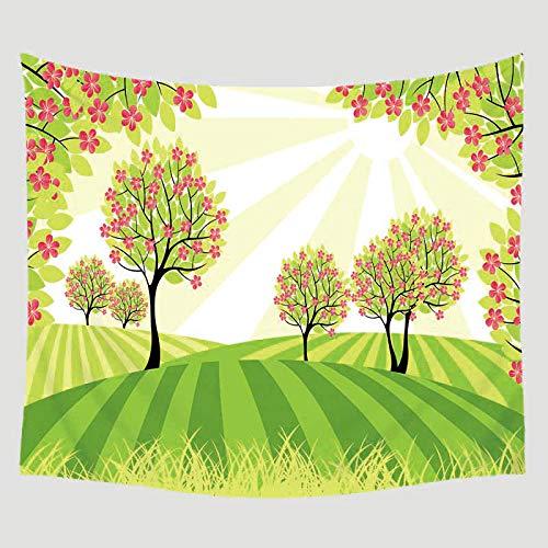 AdoDecor Planta Impreso Manta Colgante de Pared Decoración del hogar Mobiliario Viaje Picnic Playa Poliéster Yoga Mantón Camping Tapiz Bohemio 150x200CM