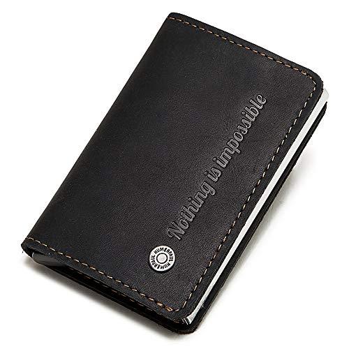 VIDOO Echtes Leder Kreditkarte Halter Automatische Feder Karte Typ Aluminiumlegierung Brieftasche Mini Business Kreditkarte Fall- Schwarz