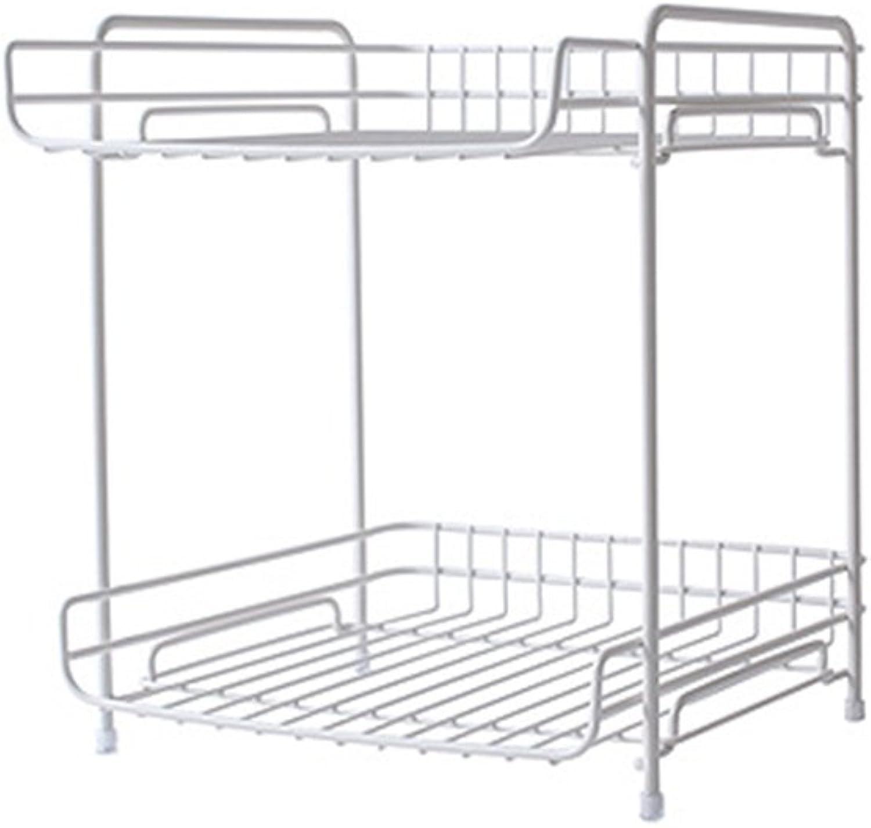 KXBYMX Wrought Iron Rack, Double File Storage Rack, Kitchen, Bedroom, Finishing Rack. Storage Rack (color   White)