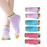 EQLEF Toe Yoga Socks For Women Non Slip Skid Pilates Yoga Socks Toe Grips Socks Cotton 3 Pairs (M)