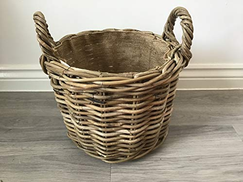 Round Kindling/Storage Basket, Hessian Lined, Excellent Quality, Very Strong Kuba Rattan (Small)