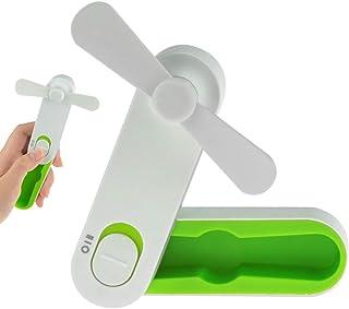 Desk Fan with Usb 2 Speeds Pocket Fan - Portable Fans - Mini USB Handheld Fan - Rechargeable Personal Desktop Fan (Orange)
