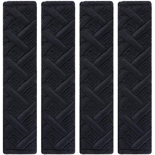 4 Piezas de Almohadilla de Cinturón de Seguridad de Coche Cubierta de Correa de Hombro de Asiento Suave Almohadilla de Arnés Protectora de Cinturón para Proteger Cuello y Hombro (Negro B)