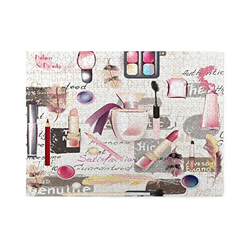 Rompecabezas de 500 piezas,moda,acuarela,cosméticos,maquillaje,lápiz labial,perfumes y sombras de ojos,gran familia,juego de rompecabezas,ilustraciones para adultos y adolescentes