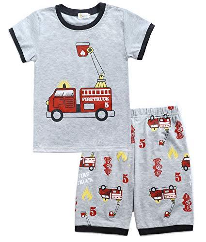 Tarkis Jungen Baumwolle Schlafanzug Kurzarm- Pyjama, 02 Grau (Feuerwehrauto), Gr.-122 (Herstellergröße: 140)
