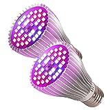 Herefun Lámparas de Crecimiento 30W 40LEDs, 2 Pack E27 Bombilla LED de Cultivo Bombilla LED de Espectro Completo Hortícola de la lámpara, Grow Light para invernaderos, Crecimiento y Fructificación
