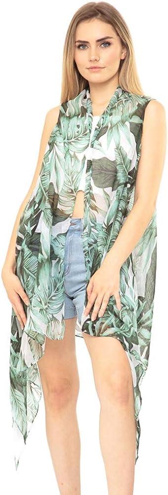 ScarvesMe Women's Soft Hawaiian Tropical Leaves Vest Kimono Shawl Cardigan