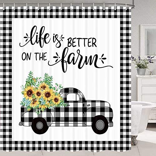 "Sunflower Shower Curtain, Yellow Sunflower Shower Curtain Farm Style Bathroom Set, Farmhouse Shower Curtain Country Bathroom Set, Buffalo Plaid Check Shower Curtain Set with Hooks, 70""(W) X70(H)"