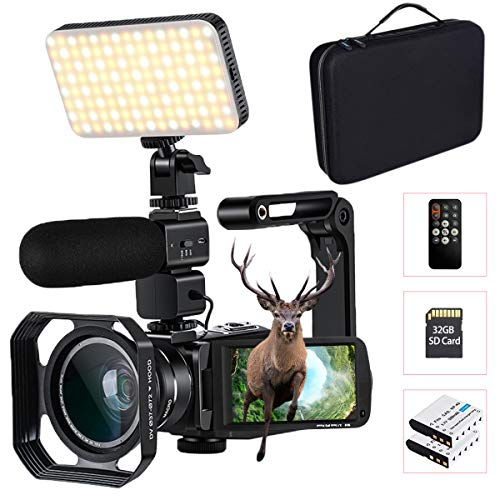 4K Camcorder with 10X Optical Zoom, Connecting with LED Light/Microphone/Wide Angle Lens, Comes with Camera Bag & 32 GB SD Card, Support WiFi and Remote Control