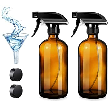 QAOKODA Empty Glass Spray Bottles with Funnel and Lables,16oz,2 Pack,Durable Black Trigger Sprayer,Heavy Duty Mist & Stream 3-Stream Settings,Great for Essential Oils, Cleaning Products or Aromatherap