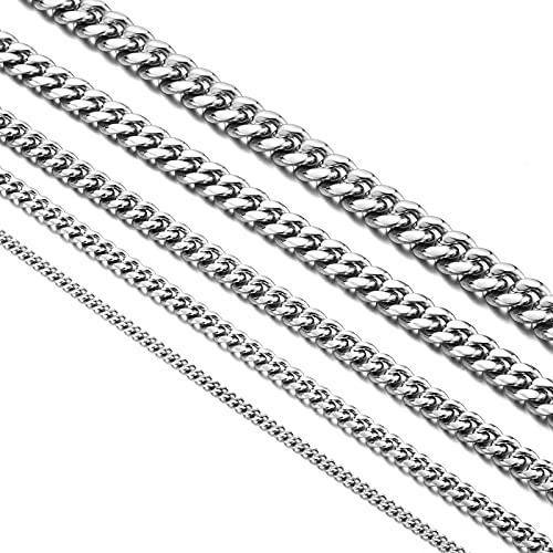 Collar de cadena cubana para mujer y hombre, 4/6/8/10/12 mm de ancho, 40/50/60/70/80 cm de longitud, acero inoxidable con caja de regalo, Acero inoxidable,