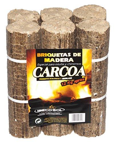 Carcoa Chimenea 0611 Briqueta de Madera 12 kg, Marrón, 30x18x27 cm