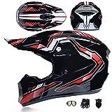 YX Caschi Moto Casco de MotocrosOffroad Sport Set Fuoristrada, Uomo Moto da Cross Casco Completo Casco da Corsa Road con Occhiali Maschera Unisex e Guanti per Adulti Quad Bike ATV Go-Kart,M