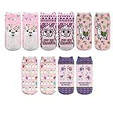 CHIC DIARY Bunte Sneaker Socken Alpaka Muster Mädchensocken mit Süßes Tier Motiv aus Polyester für Mädchen Kinder, Modell 2(5 Paar), Einheitsgröße