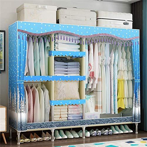 COLiJOL Möbel 67 Zoll Tragbare Kleiderschrank Kleiderschrank, Polyester Baumwolle Stoff Stoff Aufbewahrungsorganisator, Freistehender Kleiderschrank Schrank Mit Hängestangen Und Kleiderregalen, Einfa