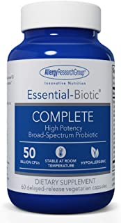 Allergy Research Group - Essential-Biotic Complete - High Potency Probiotic, No Refrigeration - 60 Vegetarian Capsules