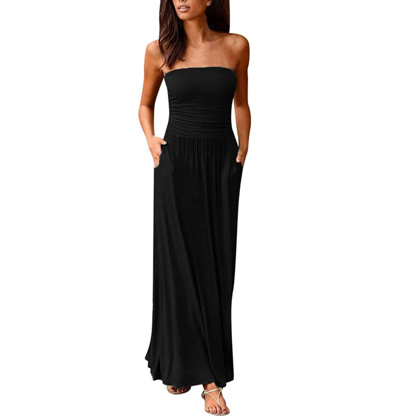 Women's Summer Casual Off Shoulder Sleeveless Pleated Loose Plain Maxi Dress with Pockets