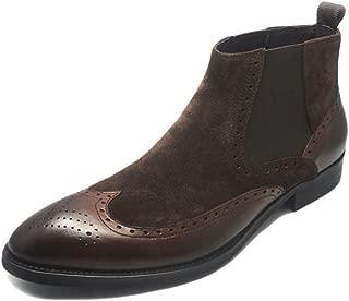 Fulinken Men's Two-Tone Suede Leather Formal Dress Boots Slip on Brogue Wingtip Shoes Chelsea Boots