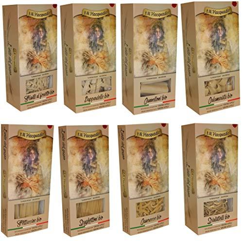 n.8 pz. da 500 g. Selezione Pasta BIO Senatore Cappelli - Raccolta grano 2018/2019: Penne rigate, Pappardelle, Cannelloni, Calamarata, Fettuccine, Spaghettoni, Casarecce, Scialatelli