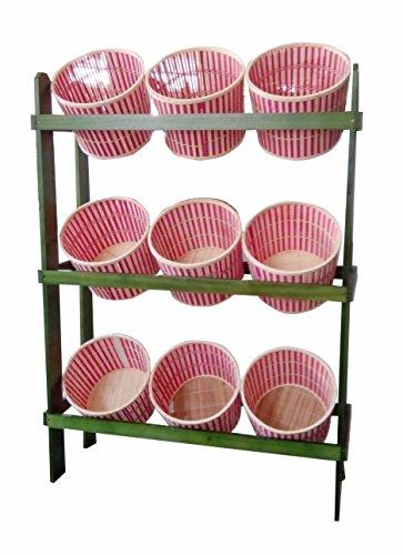 FixtureDisplays 38.5' x 44.0' x 11.3' Tiered Wooden Display, Floorstanding, 9 Baskets - Green & Oak 19397 19397