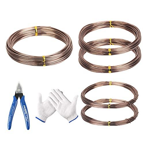 DKINY Alambres de Bonsai 5 Rollos Alambres de Aluminio para jardín Línea de Bonsai Cable de Entrenamiento de Árbol Herramientas para bonsáis 1,0mm 1,5mm 2,0mm marrón Aluminio anodizado Artesanias
