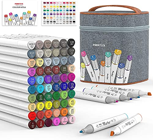 60 Colors Alcohol Art Markers, Dual Tips Twin Artist Alcohol Based...