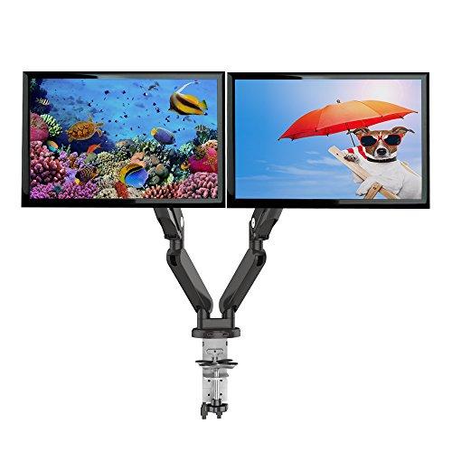 Loctek ガス圧式デュアルモニターアーム USBポート付き 2画面設置 10-30インチのモニター対応D8D