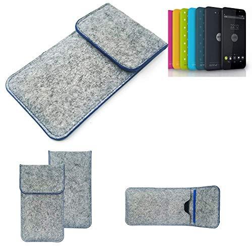 K-S-Trade® Handy Schutz Hülle Für Shift Shift4.2 Schutzhülle Handyhülle Filztasche Pouch Tasche Case Sleeve Filzhülle Hellgrau, Blauer Rand