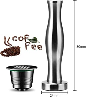 QJiang Reutilizable Acero inoxidable Filtro café metal y Base plana Cofee Tamper Cápsulas reemplazo Cápsulas repuesto con cuchara y cepillo compatibles para máquina café Nespresso Lattissima