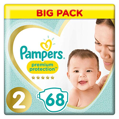 Pampers New Baby - Pañales talla 2 (4-8 kg) - Jumbo Pack (68 pañales)