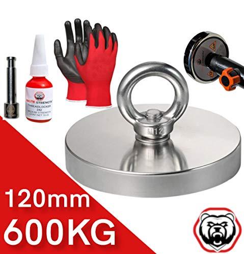magnet-shop - Imán para pesca (600 kg / 120 mm, incluye guantes, tornillos de seguridad y adaptador para barra telescópica N52)