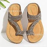 acupresión Zapatillas,Pies de Clip de Masaje Plano, Zapatillas frías, Sandalias de Mujer de tamaño Grande-Caqui_42,Sandalias de Masaje de reflexología Pie