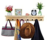 Spiretro Set of 2 Wall Mounted Torched Wood Floating Shelves & Ledge, Coat Hat Rack with Black Metal Pegs Hook to Organizer, Storage, Decorative for Entryway, Hallway, Bedroom, Natural Beige