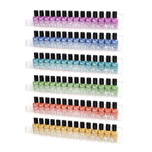 BTremary Organizador de esmalte de uñas acrílico transparente para colgar en la pared, paquete de 6 estantes flotantes para colgar en...