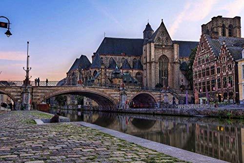 IUWAN Puzzle para Adultos, Rompecabezas de cartón para Adultos del Antiguo Edificio en Gante, Flandes Oriental, Bélgica, decoración de la Sala de Estar - 1000 Piezas 38x26CM