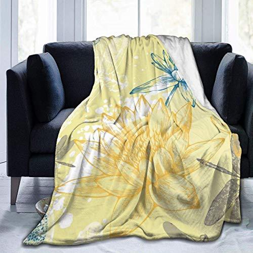 Manta de Tiro Libélulas Amarillas Manta de Microfibra Ultra Suave Manta cálida para Mujer Sofá de Oficina Manta de Sala de Estar Manta Ligera