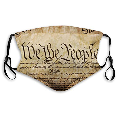 Comfortable Printed mask,United States, Vintage Constitution Text of America National Glory 4th of July Image,Pale Brown,Windproof Facial decorations for Adults Size:M
